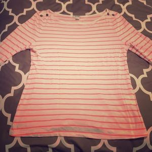 White and Coral Boat Neck Top